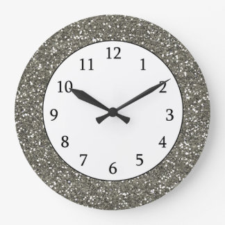 Stylish Silver Glitter Large Clock