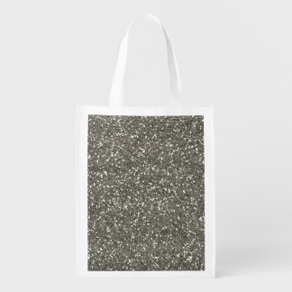 Stylish Silver Glitter Reusable Grocery Bag