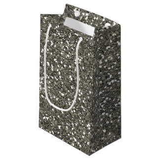 Stylish Silver Glitter Small Gift Bag