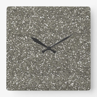 Stylish Silver Glitter Square Wall Clock