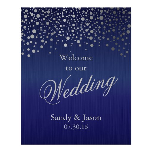 Stylish Silver Grey Confetti Dots | Dark Blue Poster