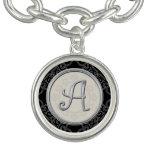 Stylish Silver Initial A Monogram Charm Bracelet