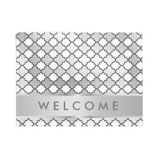 Stylish Silver Metallic Lattice Pattern Welcome Doormat