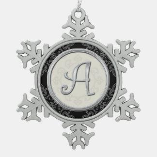 Stylish Silver Monogram A Christmas Snowflake Pewter Christmas Ornament
