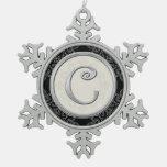 Stylish Silver Monogram  C Christmas