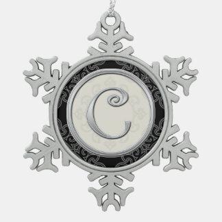 Stylish Silver Monogram  C Christmas Snowflake Pewter Christmas Ornament