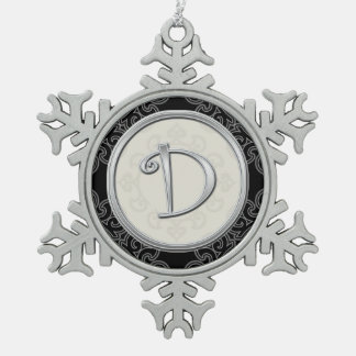 Stylish Silver Monogram D Christmas Snowflake Pewter Christmas Ornament