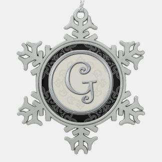 Stylish Silver Monogram  G Christmas Snowflake Pewter Christmas Ornament