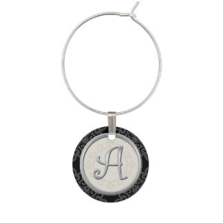 Stylish Silver Monogram Initial A Wine Charm