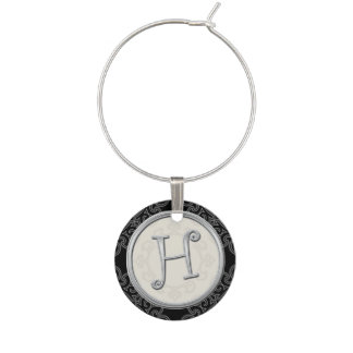 Stylish Silver Monogram Initial H Wine Glass Charm