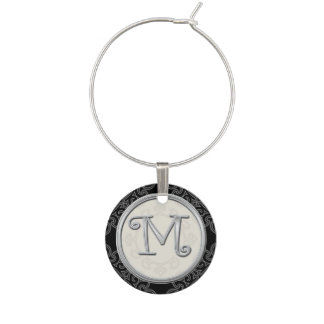 Stylish Silver Monogram Initial M Wine Charm