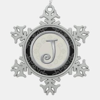 Stylish Silver Monogram  J Christmas Snowflake Pewter Christmas Ornament