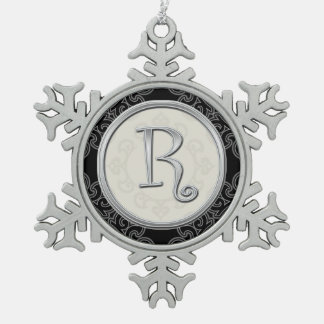 Stylish Silver Monogram  R Christmas Snowflake Pewter Christmas Ornament