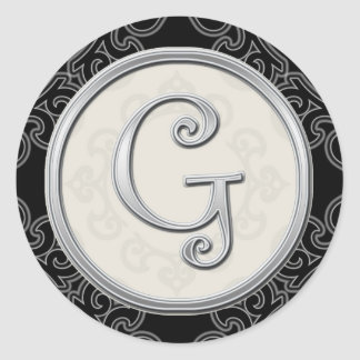 Stylish Silver Monogram Stickers::Initial G Seal