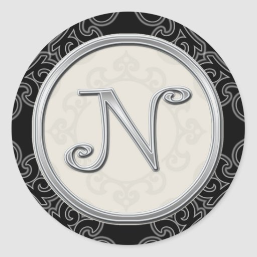 Stylish Silver Monogram Stickers::Initial N Seal