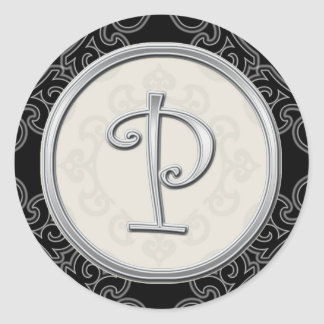 Stylish Silver Monogram Stickers::Initial P Seal Round Sticker