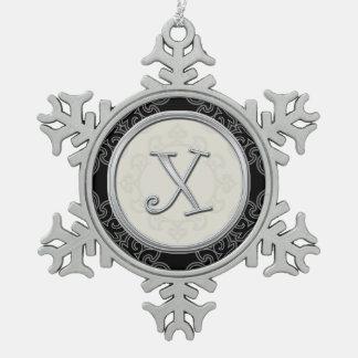 Stylish Silver Monogram  X  Christmas Snowflake Pewter Christmas Ornament