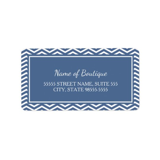 Stylish Slate Blue Chevrons Label