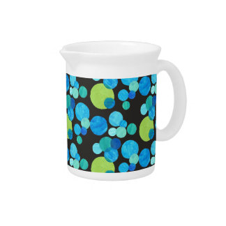 Stylish Small Pitcher or Jug, Blue, Green, Black