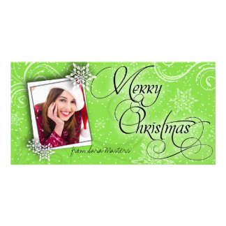 Stylish Snow Flakes Green Christmas Photo Card
