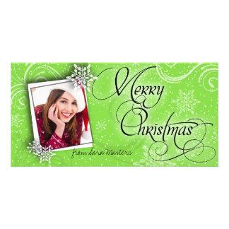 Stylish Snow Flakes Green Christmas Photo Card
