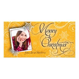 Stylish Snow Flakes Orange Christmas Photo Card