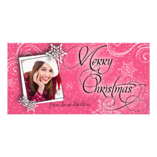 Stylish Snow Flakes Pink Christmas Photo Card