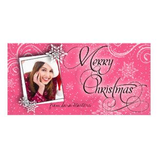 Stylish Snow Flakes Pink Christmas Photo Card