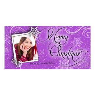 Stylish Snow Flakes Purple Christmas Photo Card