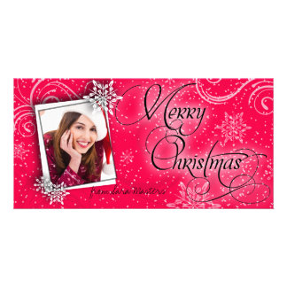 Stylish Snow Flakes Ruby Red Christmas Photo Card