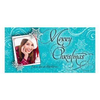 Stylish Snow Flakes Teal Christmas Photo Card