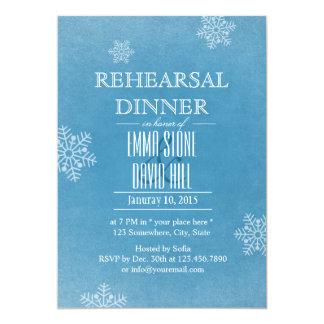 Stylish Snowflakes Winter Wedding Rehearsal Dinner 13 Cm X 18 Cm Invitation Card