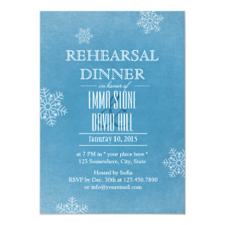 Stylish Snowflakes Winter Wedding Rehearsal Dinner 5x7 Paper Invitation Card