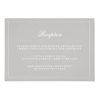 Stylish Soft Gray Wedding Reception 9 Cm X 13 Cm Invitation Card