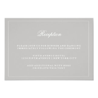 Stylish Soft Gray Wedding Reception Card