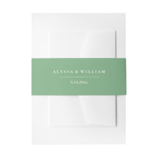 Stylish Soft Green and White Wedding Invitation Belly Band