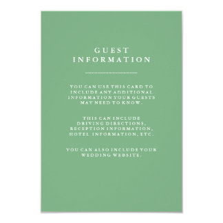 Stylish Soft Green Wedding Guest Information Card