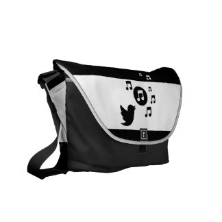 Stylish Songbird Black and White Courier Bag