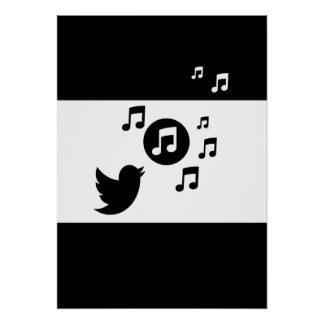 Stylish Songbird Black and White Poster