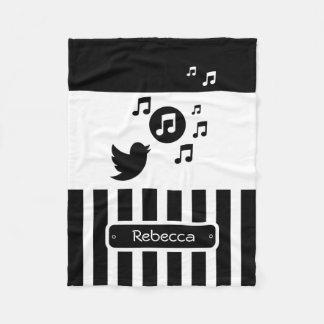 Stylish Songbird Black White Personalized Stripes Fleece Blanket
