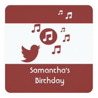 Stylish Songbird music note  Birthday Party 13 Cm X 13 Cm Square Invitation Card