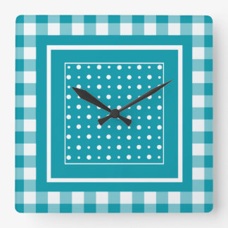 Stylish Square Wall Clock, Teal Check Gingham Square Wall Clock