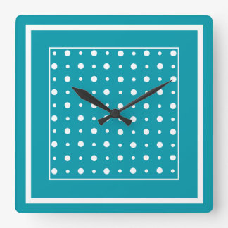 Stylish Square Wall Clock White Polka Dots on Teal