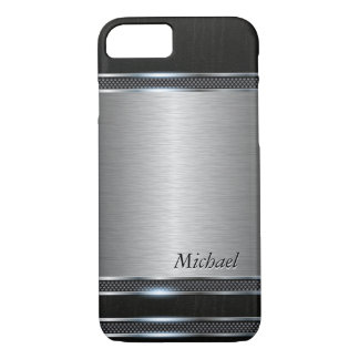 Stylish Stainless Steel Metal with Leather Look iPhone 7 Case