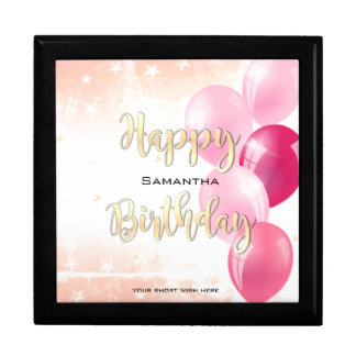 Stylish Starry Happy Birthday and Pink Balloons Gift Box