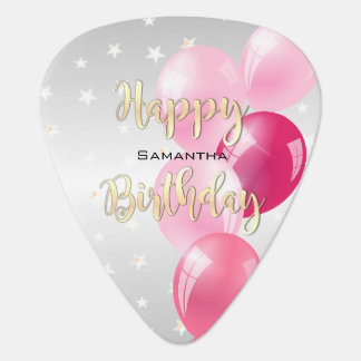 Stylish Starry Happy Birthday and Pink Balloons Guitar Pick
