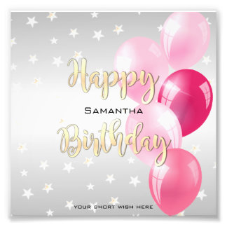 Stylish Starry Happy Birthday and Pink Balloons Photo Print