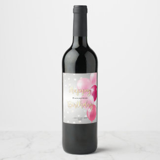 Stylish Starry Happy Birthday and Pink Balloons Wine Label