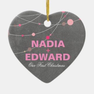 Stylish Strands   chalkboard pink Photo Ceramic Heart Decoration