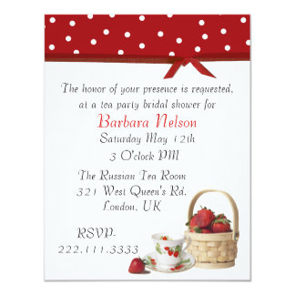 Stylish Strawberries Tea Party Invitation